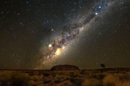 Uluru under the night sky.