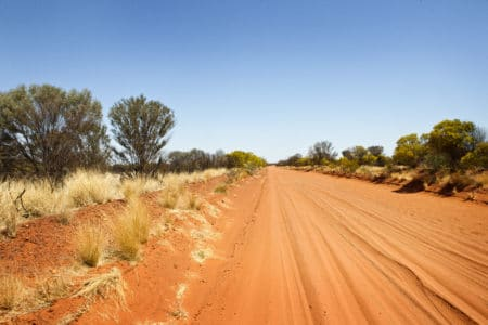 Dirt road leading to Owen Springs Reserve